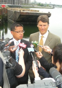 Louie and Robertson at False Creek news conference